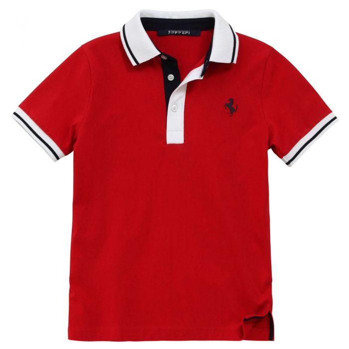 Đồng phục áo thun đỏ viền cổ trắng