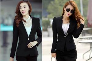 Mẫu áo vest nữ công sở màu đen