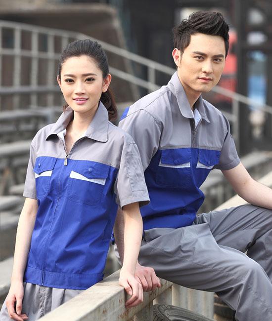 Mẫu đồng phục bảo hộ công ty tay ngắn phối màu xám xanh