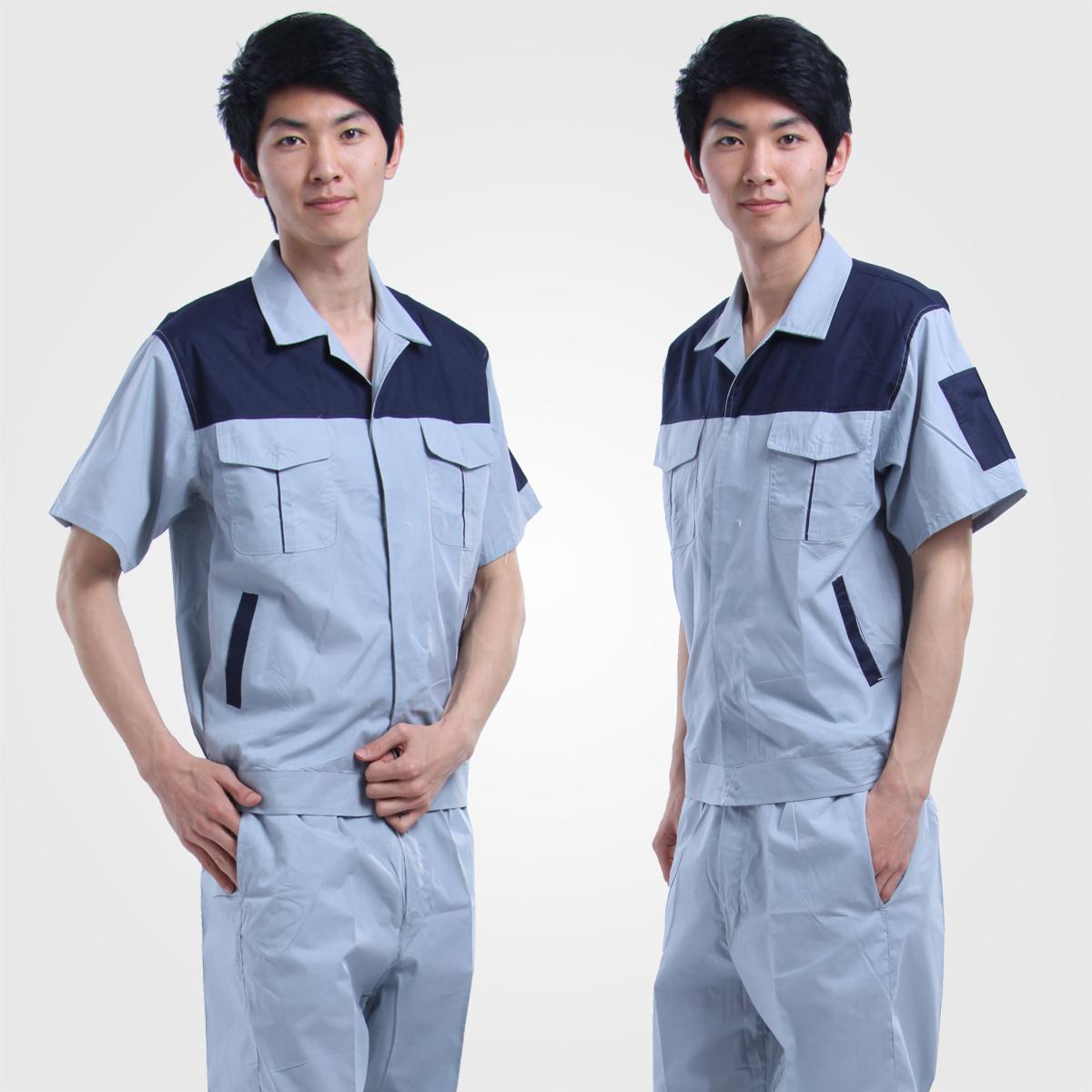Mẫu đồng phục bảo hộ công ty tay ngắn màu xanh nhạt viền xanh đen