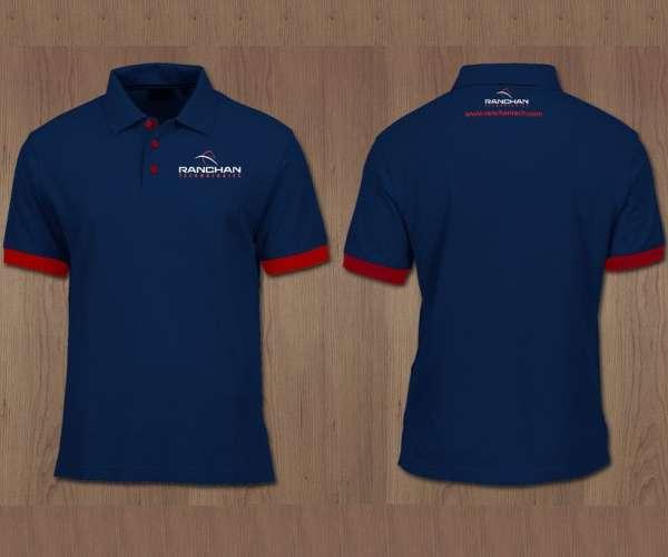 Mẫu đồng phục áo thun công ty cổ trụ tay ngắn có bo màu xanh đỏ
