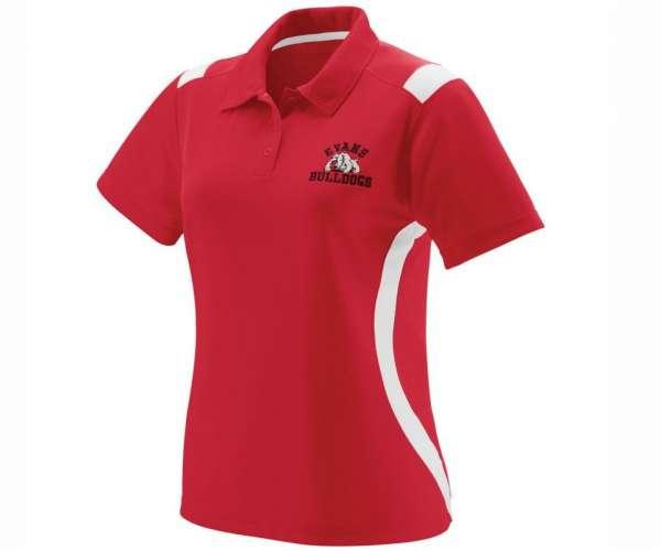 Mẫu áo đồng phục thể thao cá sấu cổ trụ tay ngắn thêu logo màu đỏ trắng