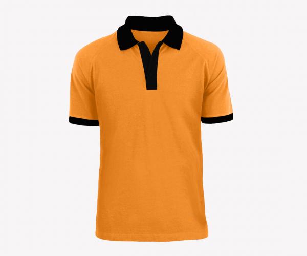 Mẫu đồng phục áo thun công ty vải cá sấu có cổ tay ngắn màu cam đen