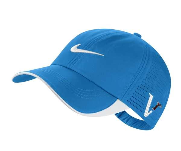 Mẫu nón kết đồng phục thể thao màu xanh phối trắng thêu logo