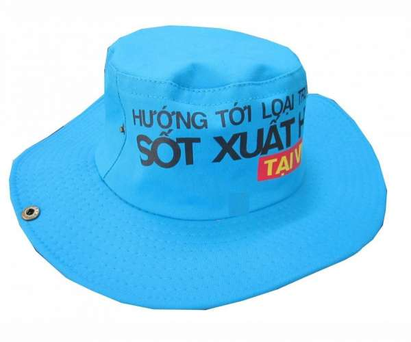 Mẫu nón tai bèo dành cho sự kiện màu xanh dương in thông điệp