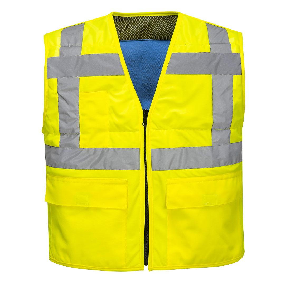 Mẫu áo đồng phục phản quang vàng phối xám