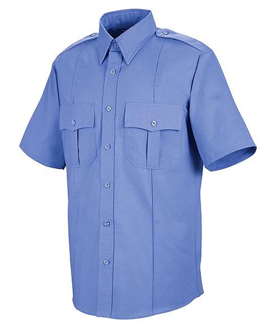 Mẫu áo đồng phục bảo vệ tay ngắn màu xanh