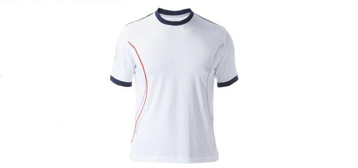 Mẫu áo thun thể thao tay ngắn có bo cổ tròn phối màu trắng xanh