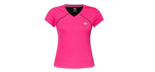 Mẫu áo thun thể thao tay ngắn cổ tim màu hồng cho nữ