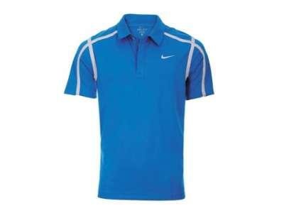 Mẫu áo thun thể thao tay ngắn cổ trụ màu xanh dương