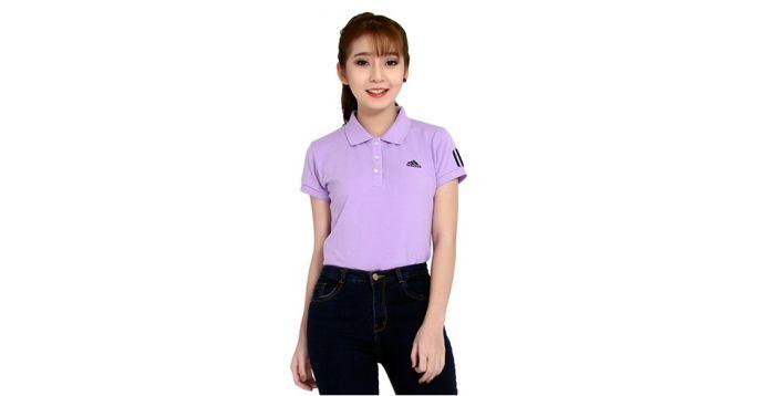 Mẫu áo thun thể thao nữ tay ngắn cổ trụ màu tím pastel