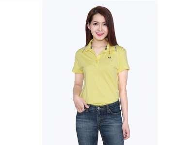 Mẫu áo thun thể thao nữ tay ngắn cổ trụ màu vàng