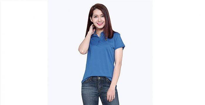 Mẫu áo thun thể thao nữ tay ngắn cổ trụ màu xanh dương