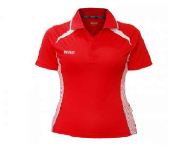 Mẫu áo thun thể thao nữ tay ngắn cổ trụ màu đỏ viền trắng