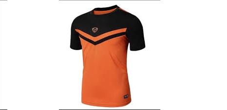 Mẫu áo thun thể thao tay ngắn cổ tròn phối màu đen cam