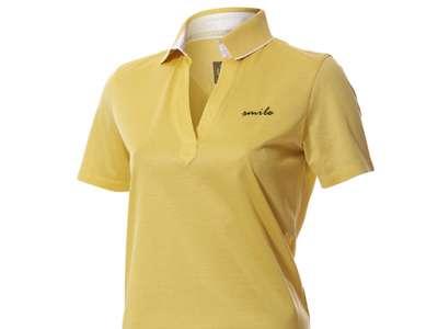 Đồng phục áo thun công ty cổ trụ màu vàng thiêu chữ smile