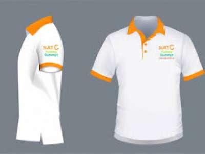Đồng phục áo thun cổ trụ màu trắng phối cam