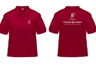 Đồng phục áo thun công ty cổ trụ màu đỏ