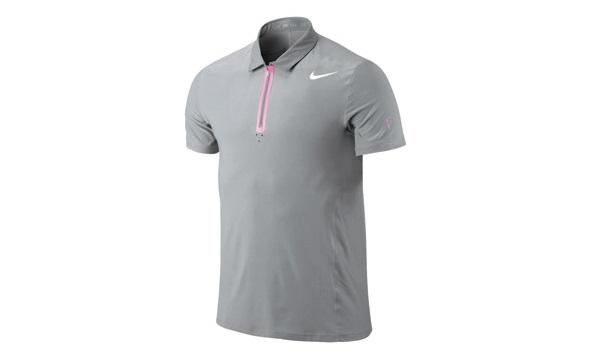 Mẫu áo thun thể thao nam tay ngắn cổ trụ màu xám có dây kéo ở cổ