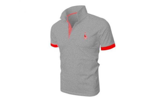 Mẫu áo thun thể thao nam tay ngắn cổ trụ màu xám viền đỏ