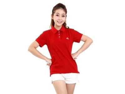 Mẫu áo thun thể thao nữ tay ngắn cổ trụ màu đỏ