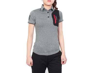 Mẫu áo thun thể thao nữ tay ngắn cổ trụ phối màu xám đen