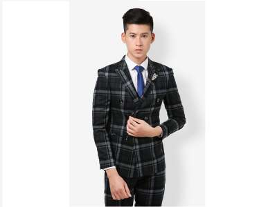 Mẫu áo vest nam công sở màu đen kẻ caro