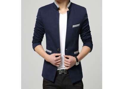 Mẫu áo vest nam công sở màu xanh đen viền xám