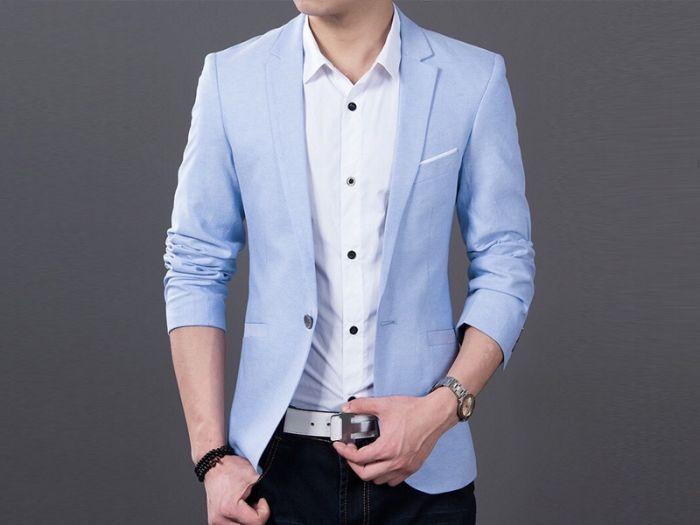 Mẫu áo vest nam công sở màu xanh lam