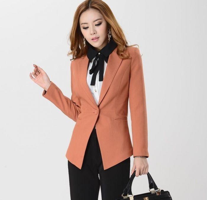 Mẫu áo vest nữ công sở màu cam sữa