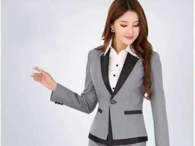 Mẫu áo vest nữ công sở màu xám viền đen